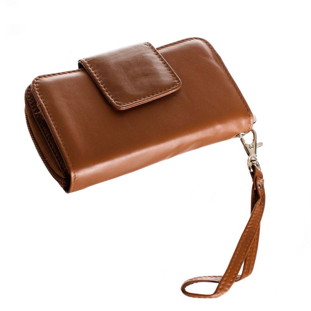 Apple iPhone 7 Plus -  Limited Edition Genuine Leather Wristlet Clutch Wallet with Phone Holder, Brown