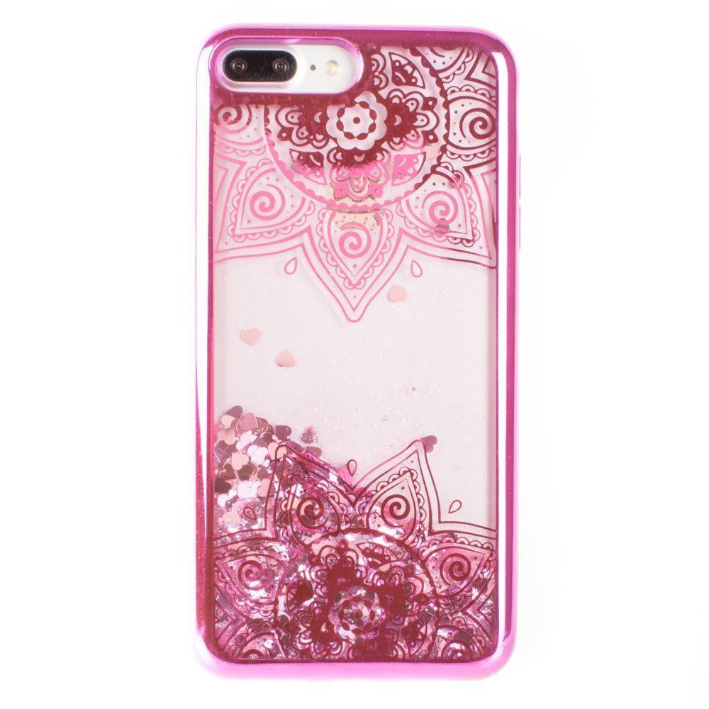 Apple iPhone 7 Plus -  Mandala Printed Liquid Waterfall Quicksand Case, Hot Pink