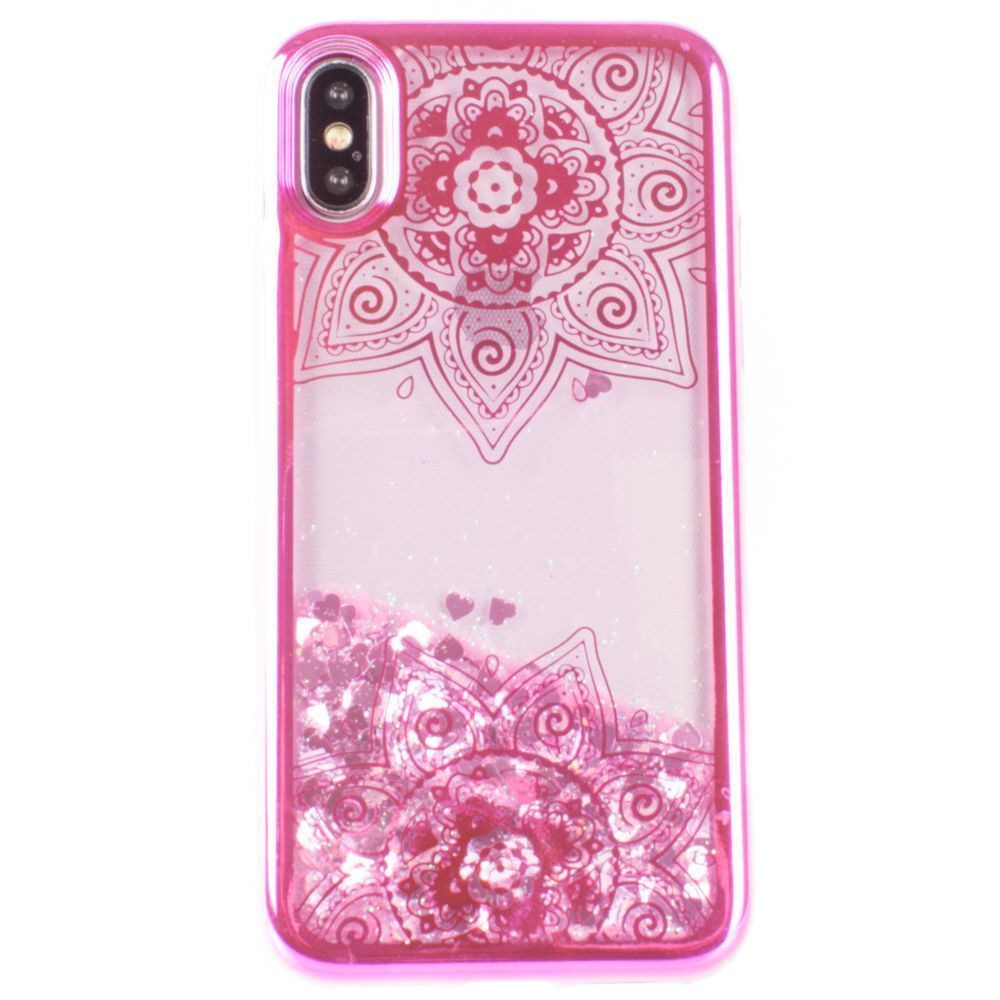 Apple iPhone X -  Mandala Printed Liquid Waterfall Quicksand Case, Hot Pink