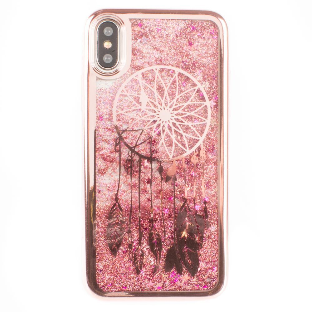 Apple iPhone X -  Dreamcatcher Printed Liquid Waterfall Quicksand Case, Rose Gold