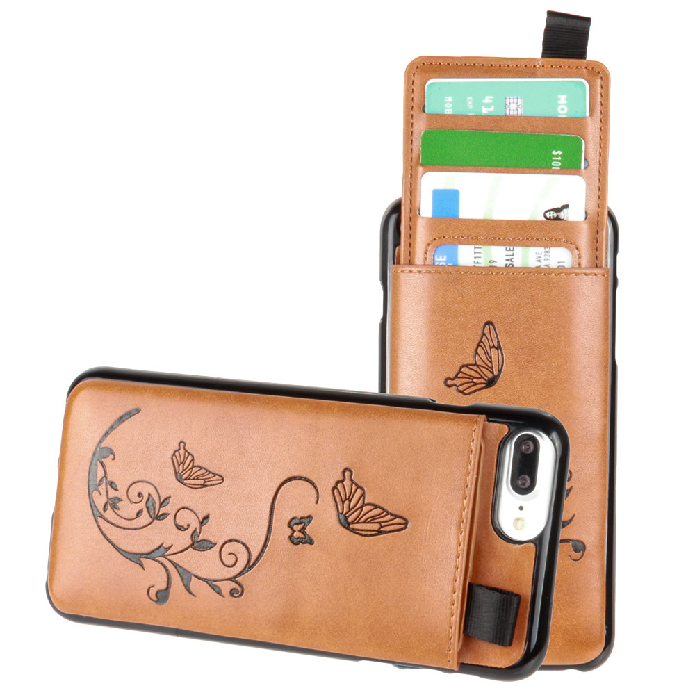 Apple iPhone 7 Plus -  Embossed Butterfly Leather Case with Pull-Out Card Slot Organizer, Taupe
