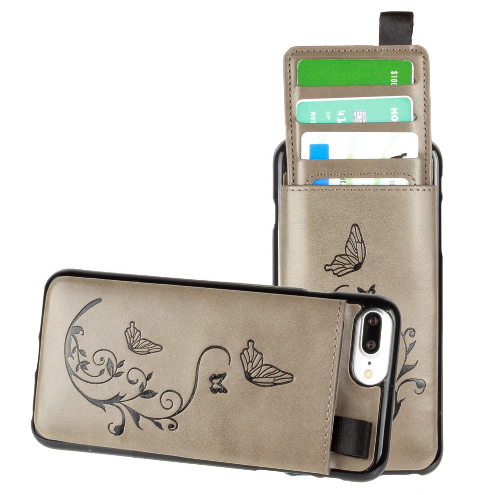 Apple iPhone 7 Plus -  Embossed Butterfly Leather Case with Pull-Out Card Slot Organizer, Gray