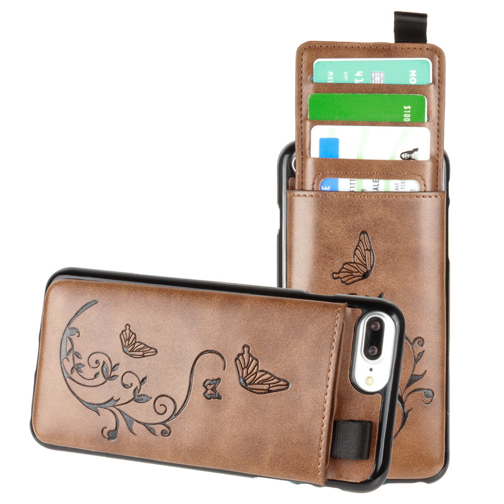 Apple iPhone 7 Plus -  Embossed Butterfly Leather Case with Pull-Out Card Slot Organizer, Brown