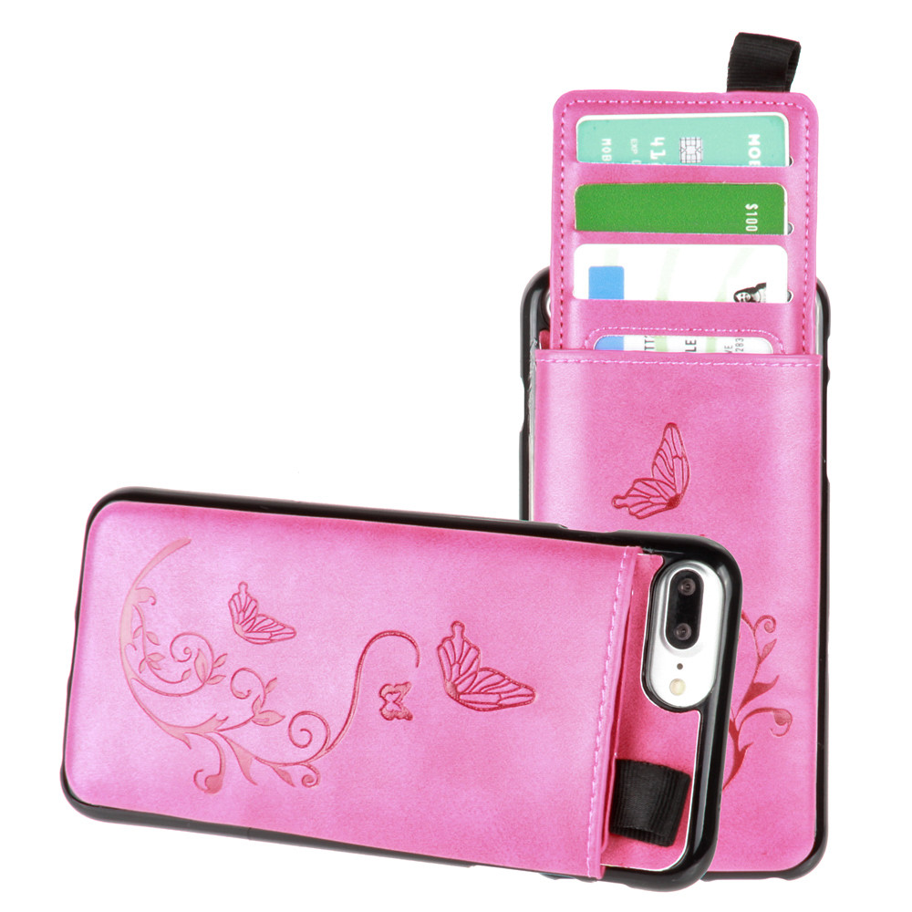 Apple iPhone 7 Plus -  Embossed Butterfly Leather Case with Pull-Out Card Slot Organizer, Hot Pink