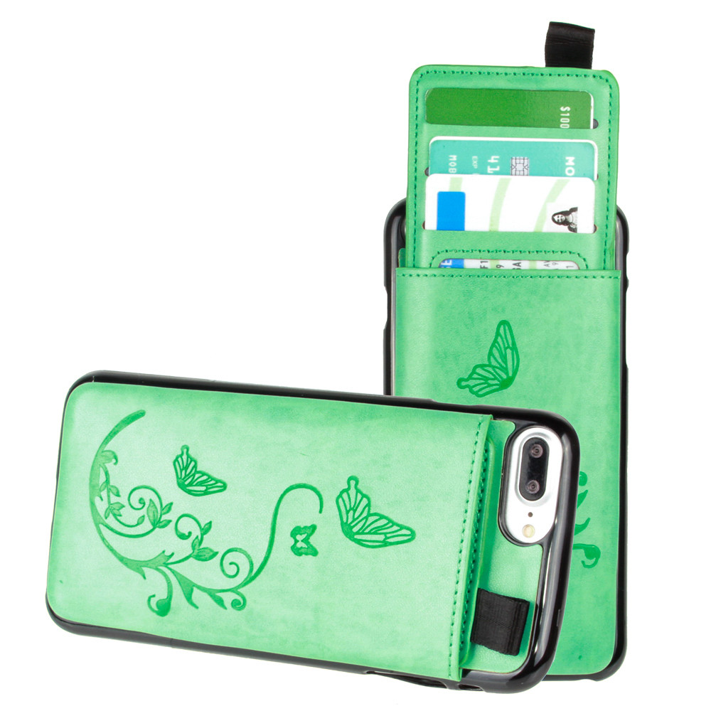 Apple iPhone 7 Plus -  Embossed Butterfly Leather Case with Pull-Out Card Slot Organizer, Mint