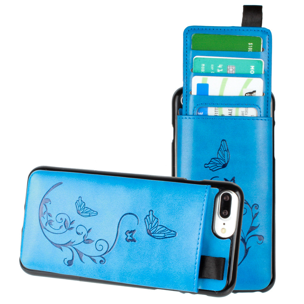 Apple iPhone 7 Plus -  Embossed Butterfly Leather Case with Pull-Out Card Slot Organizer, Blue