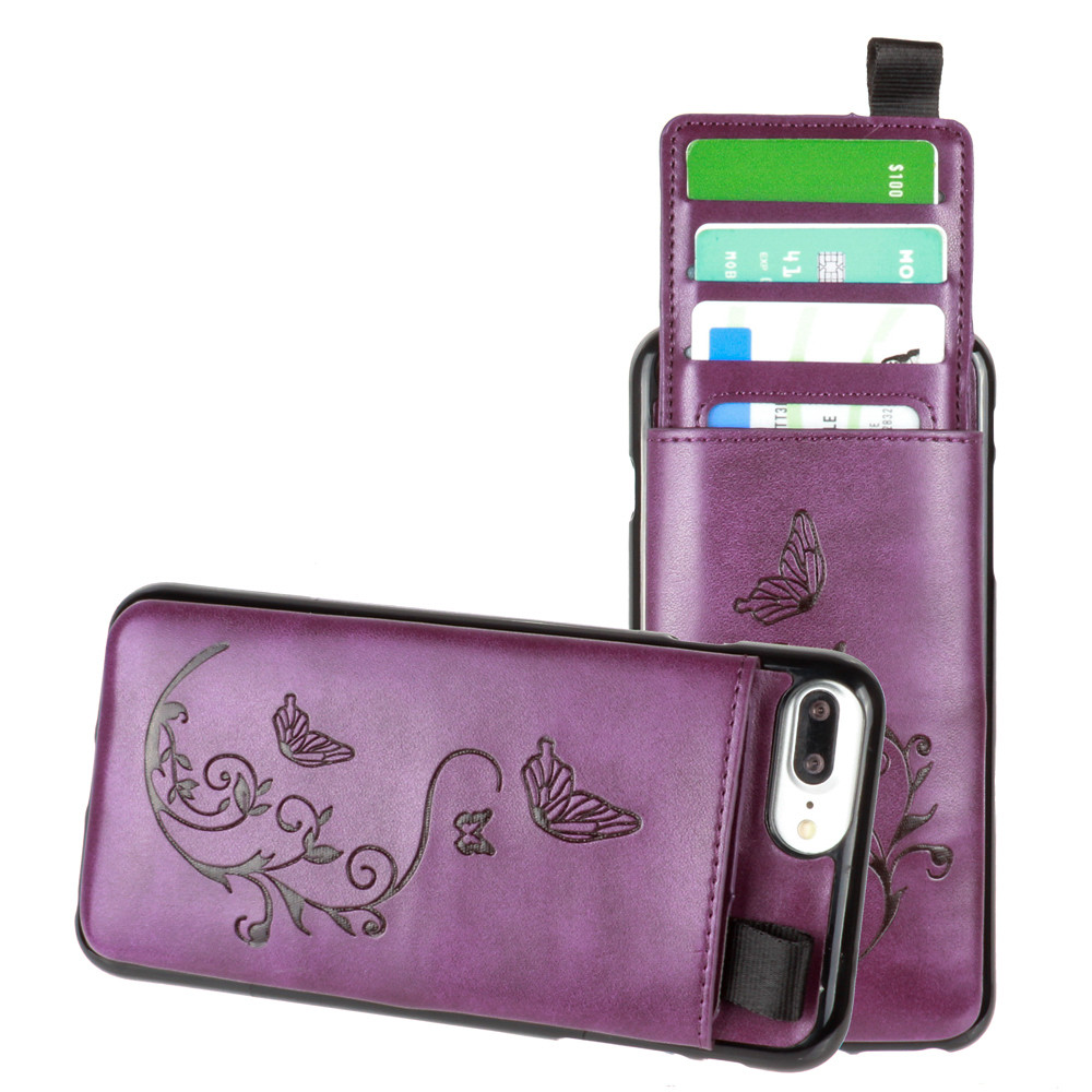 Apple iPhone 7 Plus -  Embossed Butterfly Leather Case with Pull-Out Card Slot Organizer, Purple