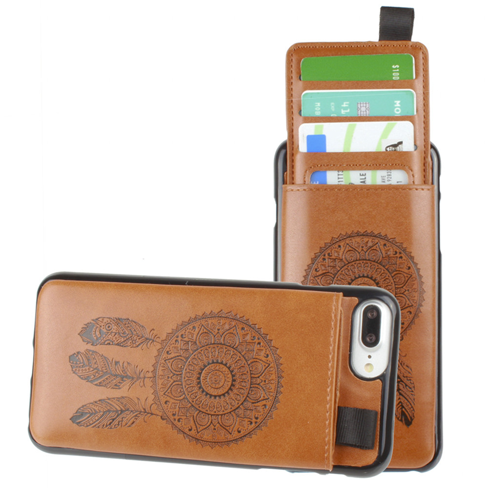 Apple iPhone 7 Plus -  Embossed Dreamcatcher Leather Case with Pull-Out Card Slot Organizer, Taupe