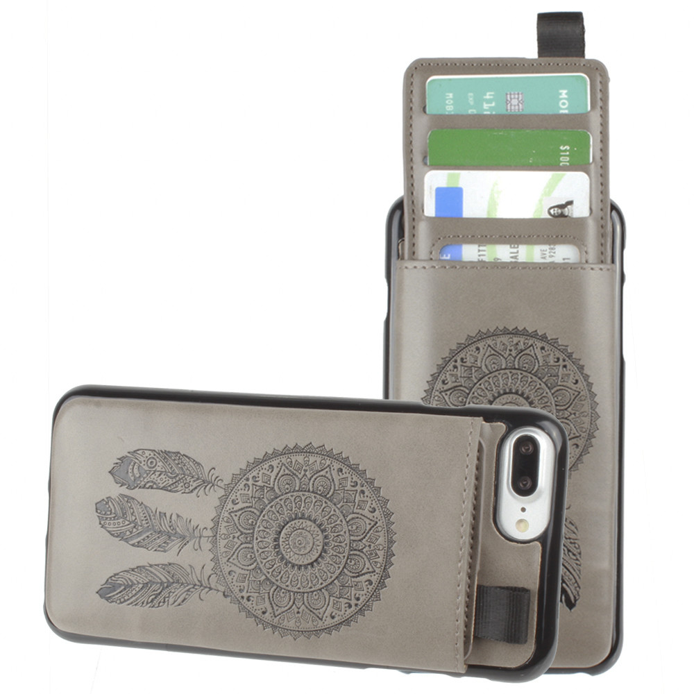 Apple iPhone 7 Plus -  Embossed Dreamcatcher Leather Case with Pull-Out Card Slot Organizer, Gray