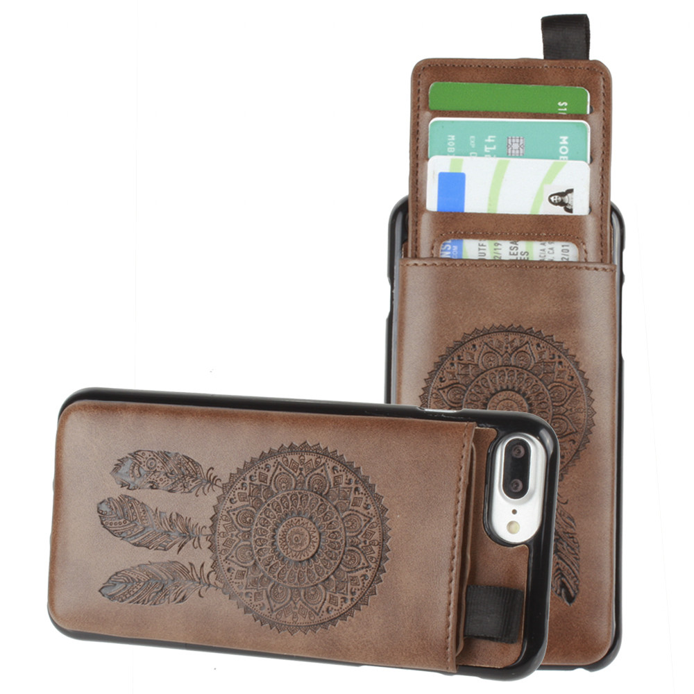 Apple iPhone 7 Plus -  Embossed Dreamcatcher Leather Case with Pull-Out Card Slot Organizer, Brown