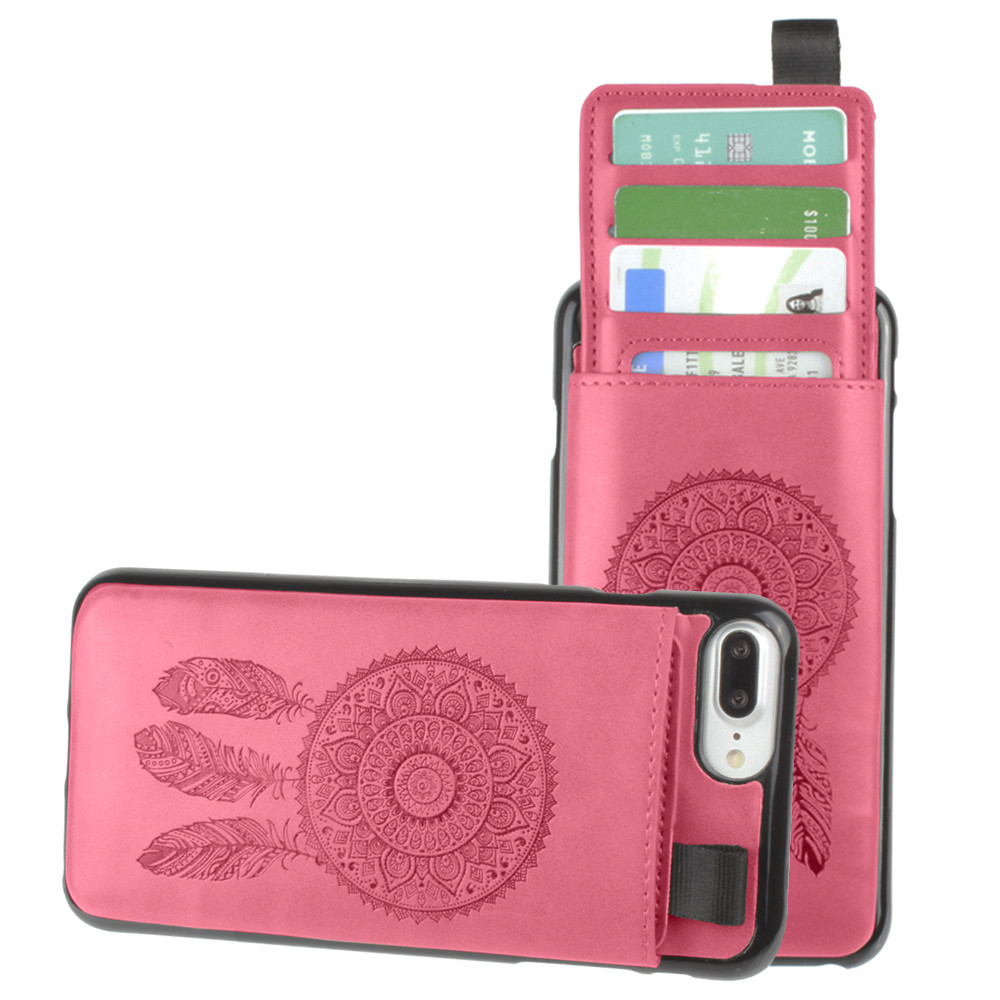 Apple iPhone 7 Plus -  Embossed Dreamcatcher Leather Case with Pull-Out Card Slot Organizer, Hot Pink