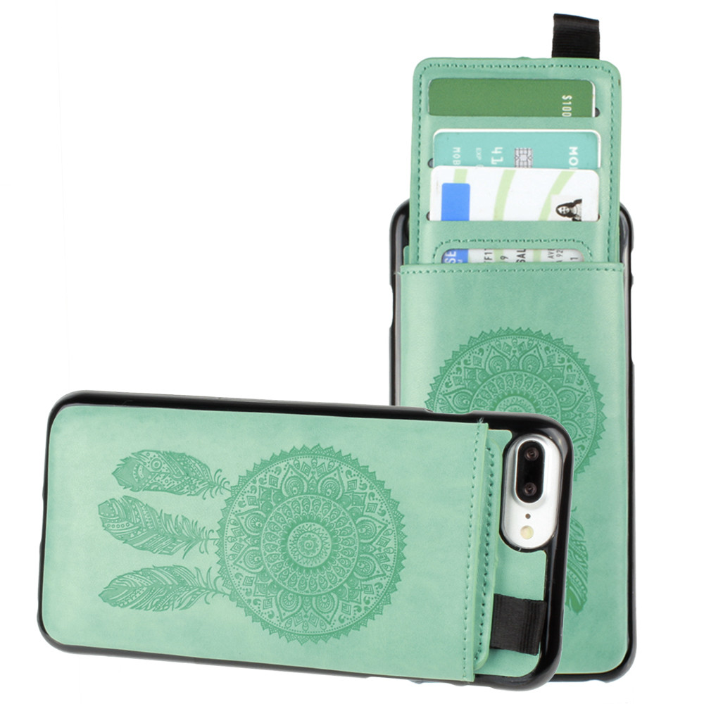 Apple iPhone 7 Plus -  Embossed Dreamcatcher Leather Case with Pull-Out Card Slot Organizer, Mint