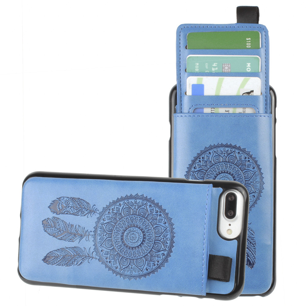 Apple iPhone 7 Plus -  Embossed Dreamcatcher Leather Case with Pull-Out Card Slot Organizer, Blue