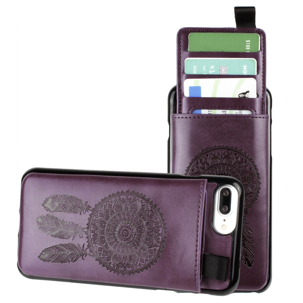 Apple iPhone 7 Plus -  Embossed Dreamcatcher Leather Case with Pull-Out Card Slot Organizer, Purple
