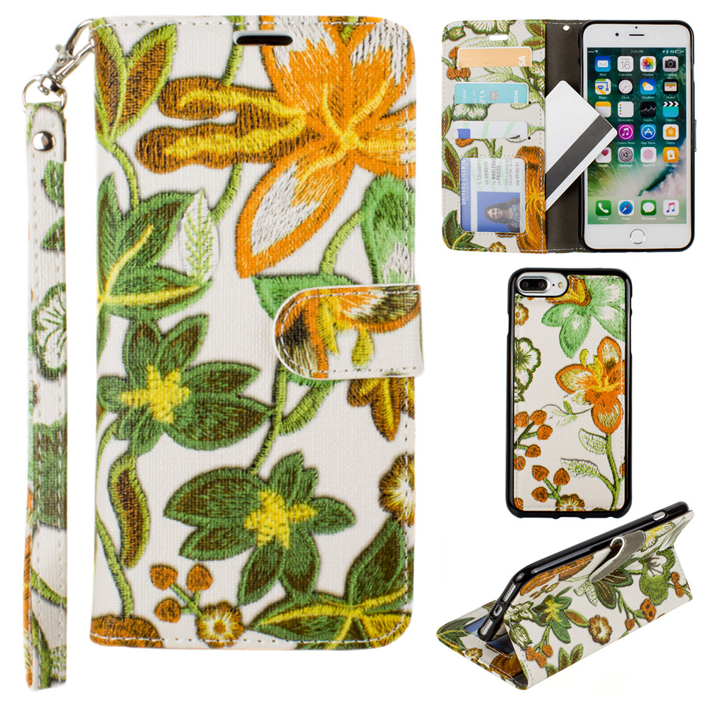 Apple iPhone 7 Plus -  Faux Embroidery Printed Floral Wallet Case with detachable matching slim case and wristlet, Orange/Green
