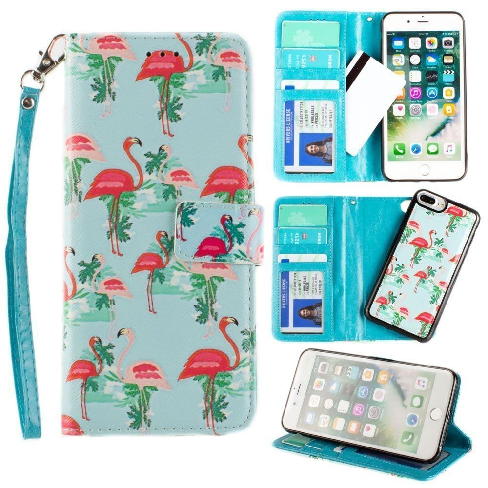 Apple iPhone 7 Plus -  Flamingo Couple Wallet with Matching Detachable Slim Case and Wristlet, Pink/Blue