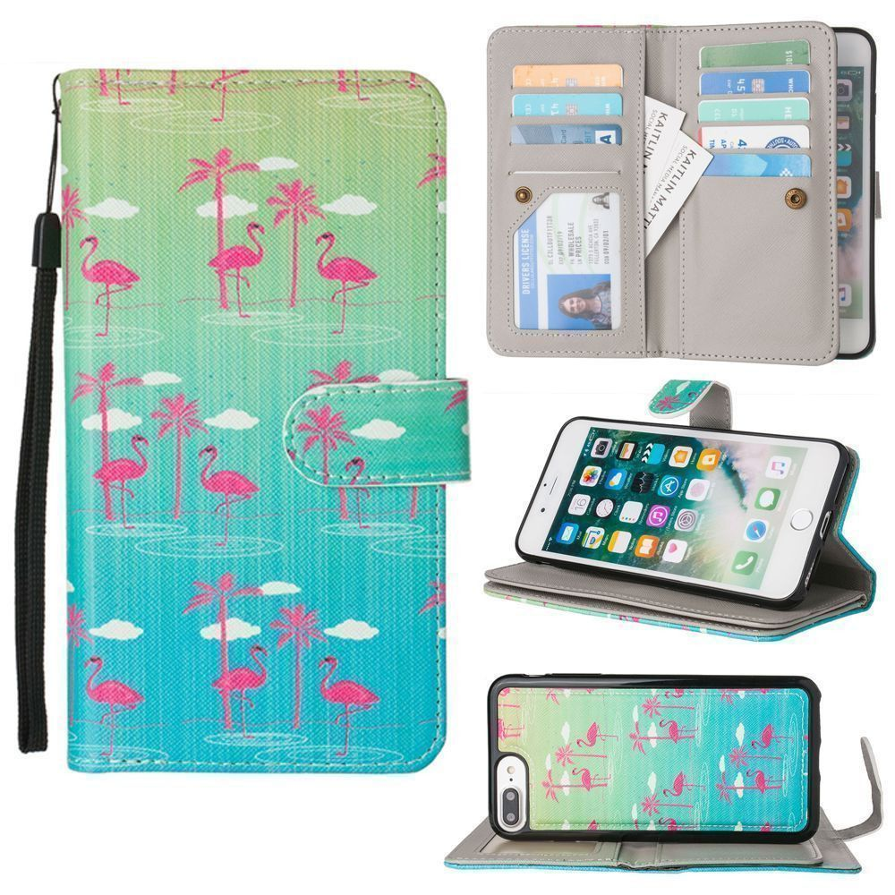 Apple iPhone 7 Plus -  Flamingo Paradise Multi-Card Wallet with Matching Detachable Slim Case and Wristlet, Green/Pink