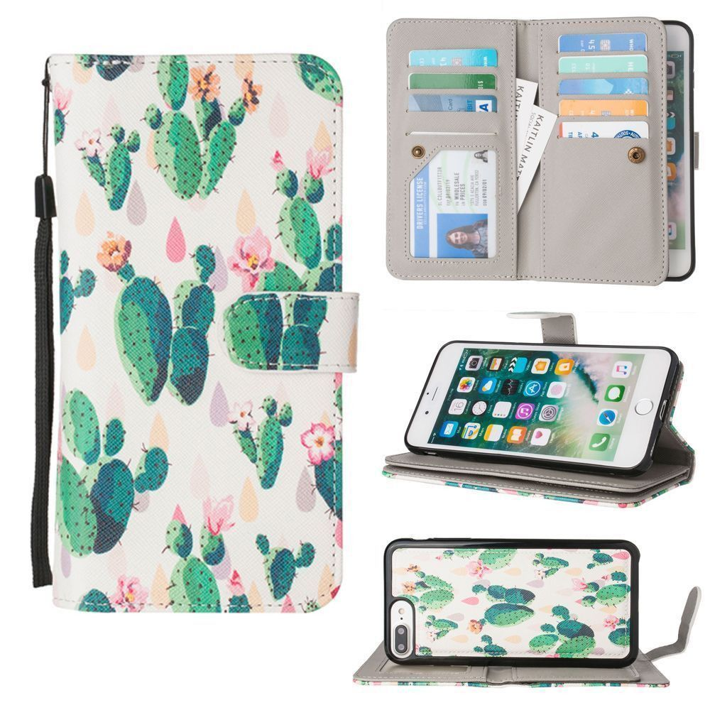 Apple iPhone 7 Plus -  Blooming Cactus Multi-Card Wallet with Matching Detachable Slim Case and Wristlet, Green/White