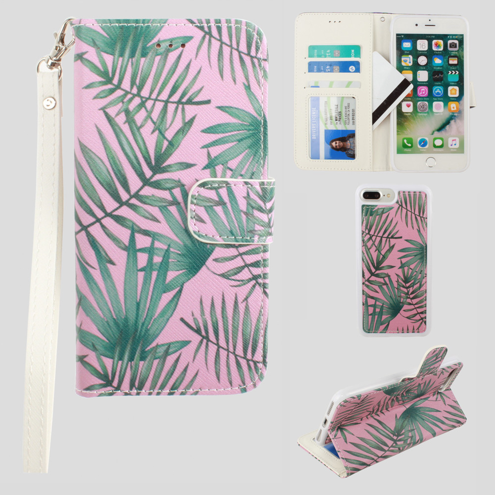 Apple iPhone 7 Plus -  Palm Leaves Printed Wallet with Matching Detachable Slim Case and Wristlet, Pink/Green