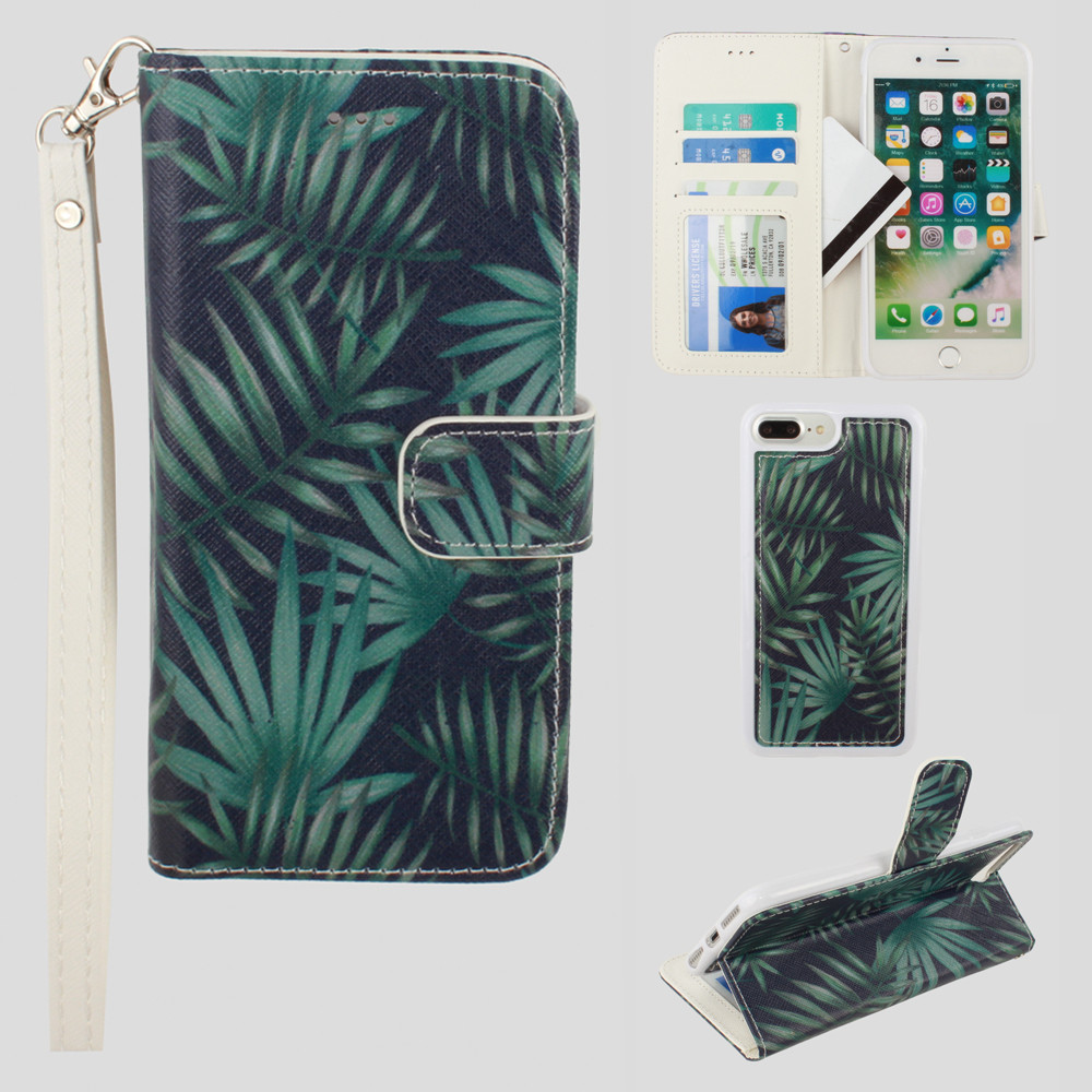 Apple iPhone 7 Plus -  Palm Leaves Printed Wallet with Matching Detachable Slim Case and Wristlet, Navy Blue/Green