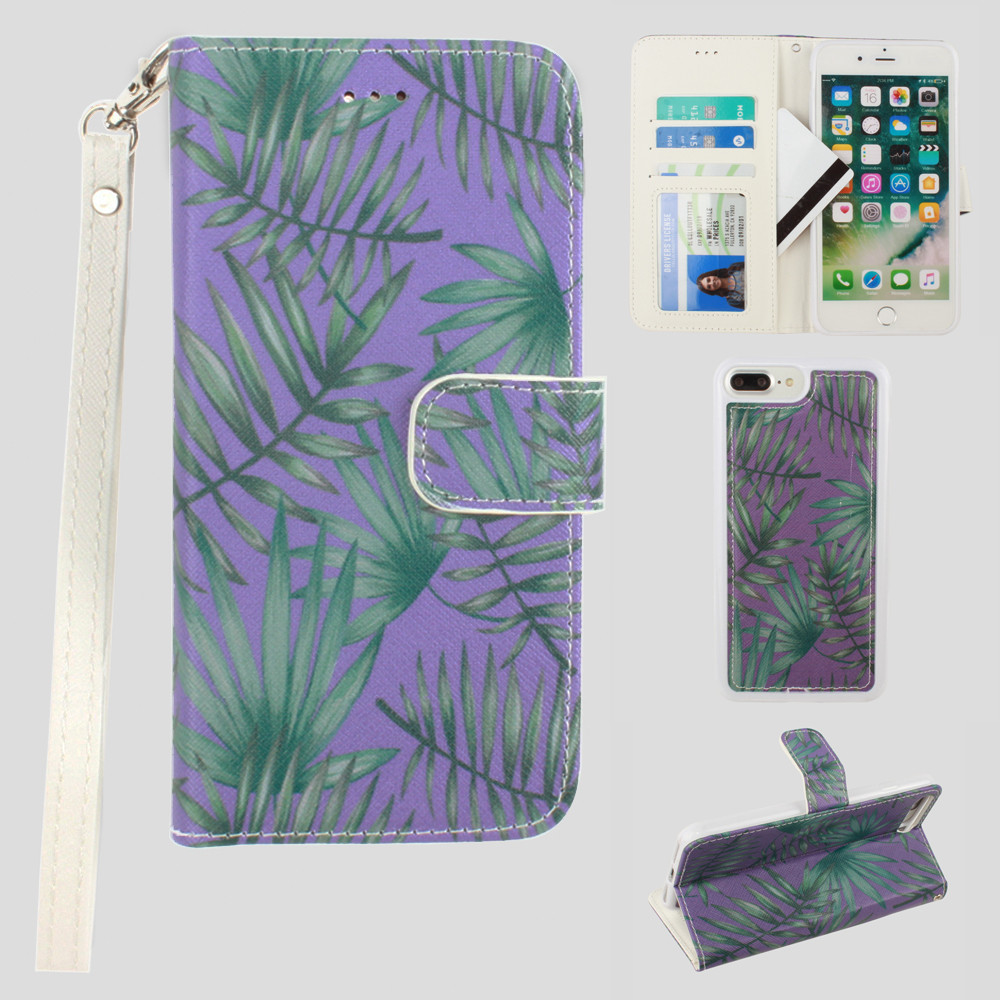 Apple iPhone 7 Plus -  Palm Leaves Printed Wallet with Matching Detachable Slim Case and Wristlet, Purple/Green