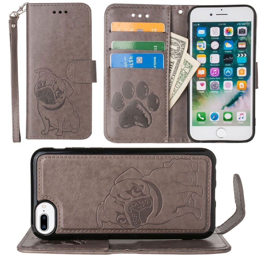 Apple iPhone 7 Plus -  Pug dog debossed wallet with detachable matching slim case and wristlet, Gray