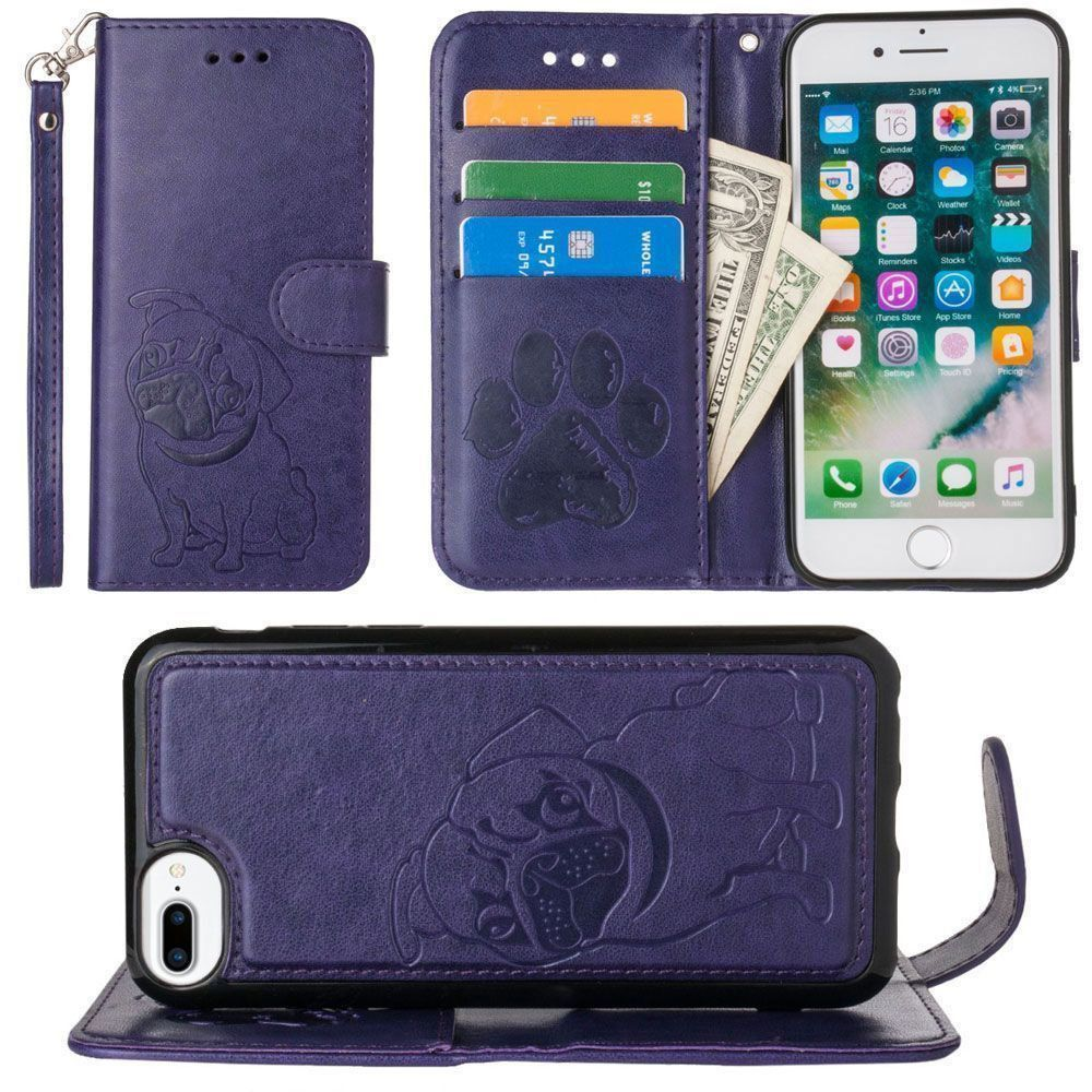 Apple iPhone 7 Plus -  Pug dog debossed wallet with detachable matching slim case and wristlet, Purple