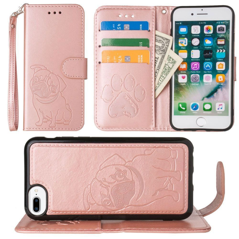 Apple iPhone 7 Plus -  Pug dog debossed wallet with detachable matching slim case and wristlet, Rose Gold