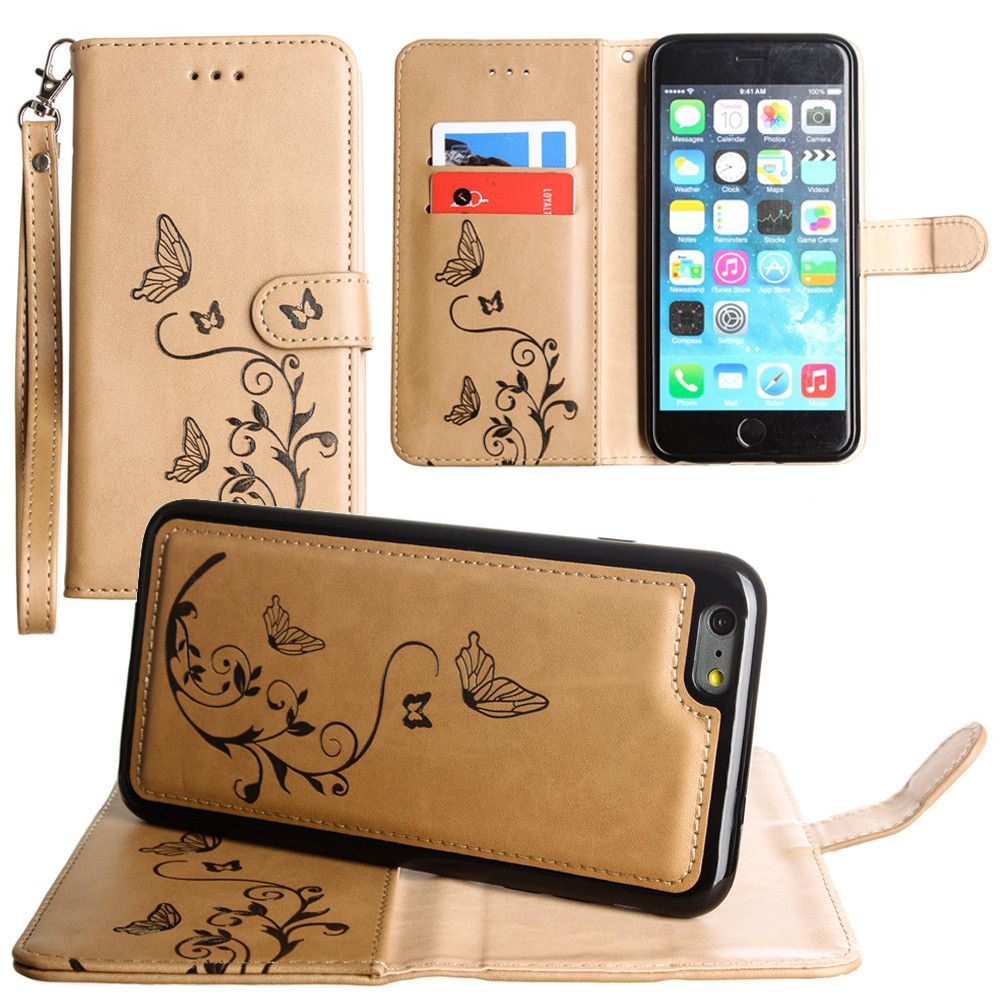 Apple iPhone 7 Plus -  Embossed Butterfly Design Wallet Case with Detachable Matching Case and Wristlet, Taupe