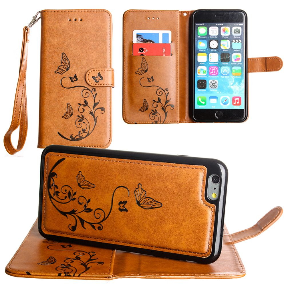 Apple iPhone 7 Plus -  Embossed Butterfly Design Wallet Case with Detachable Matching Case and Wristlet, Brown