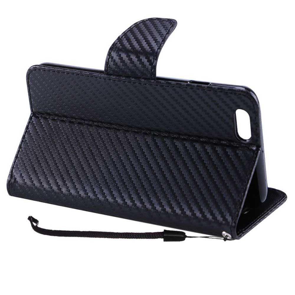 Apple iPhone 7 Plus -  Carbon Fiber Design Folding Wallet Case, Black