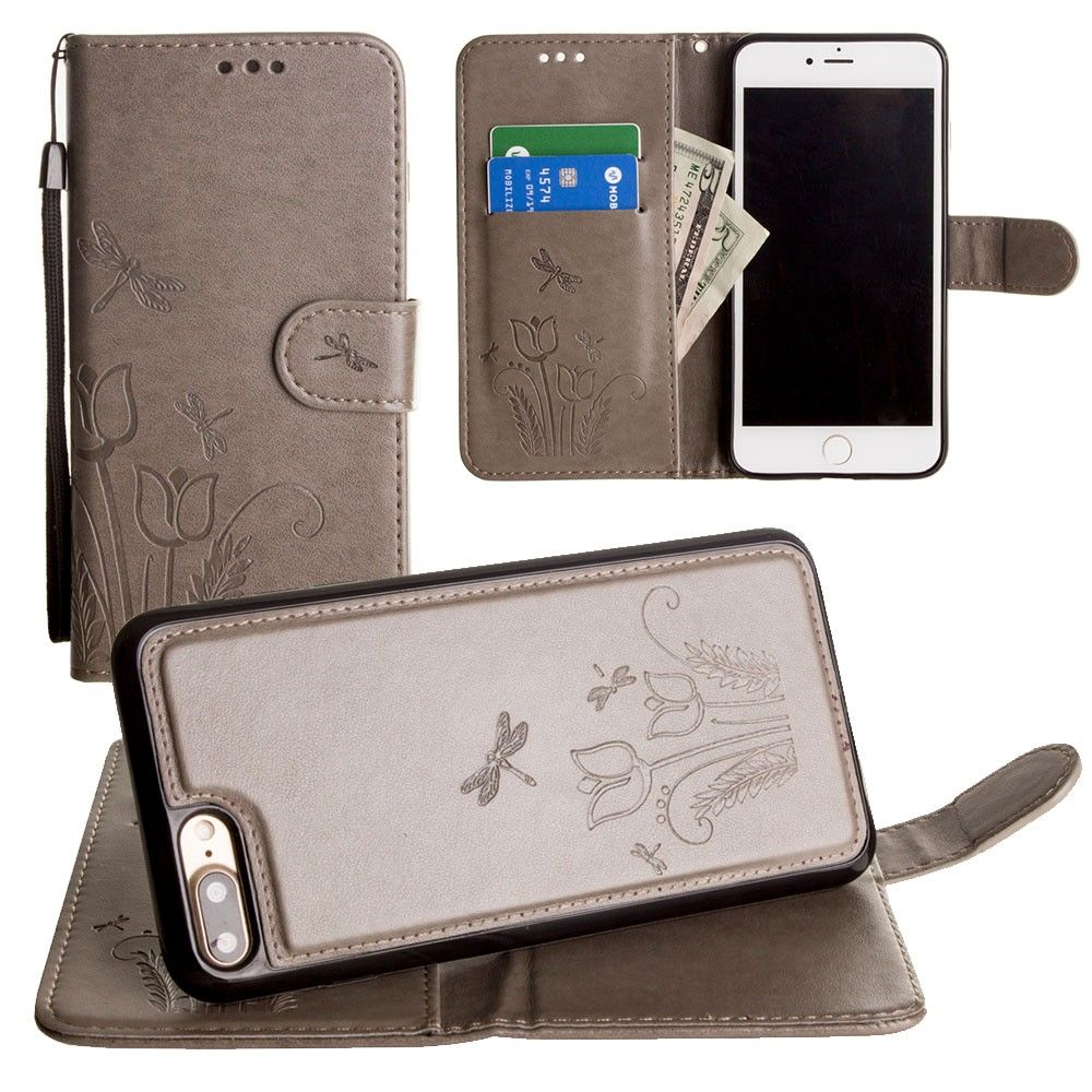 Apple iPhone 7 Plus -  Embossed dragonfly over tulip design wallet case with Matching detachable magnetic case and wristlet, Gray