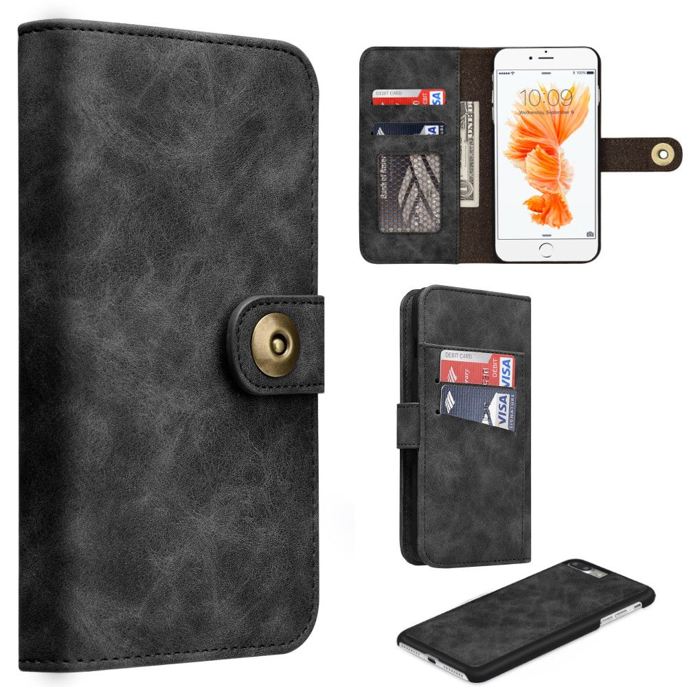 Apple iPhone 7 Plus -  Luxury Button Snap Soft Leather Wallet with Matching Removable Phone Case, Black