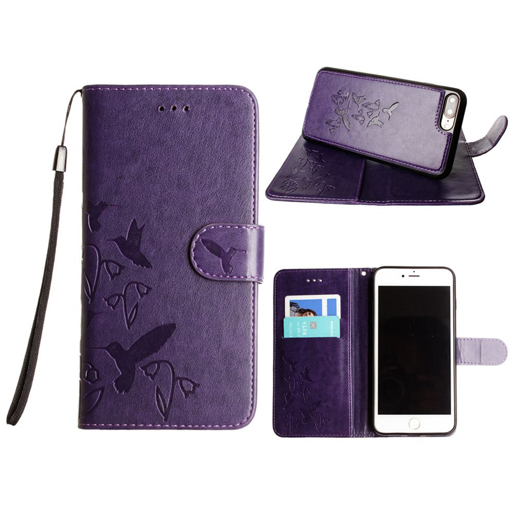 Apple iPhone 7 Plus -  Embossed Humming Bird Design Wallet Case with Matching Removable Case and Wristlet, Purple