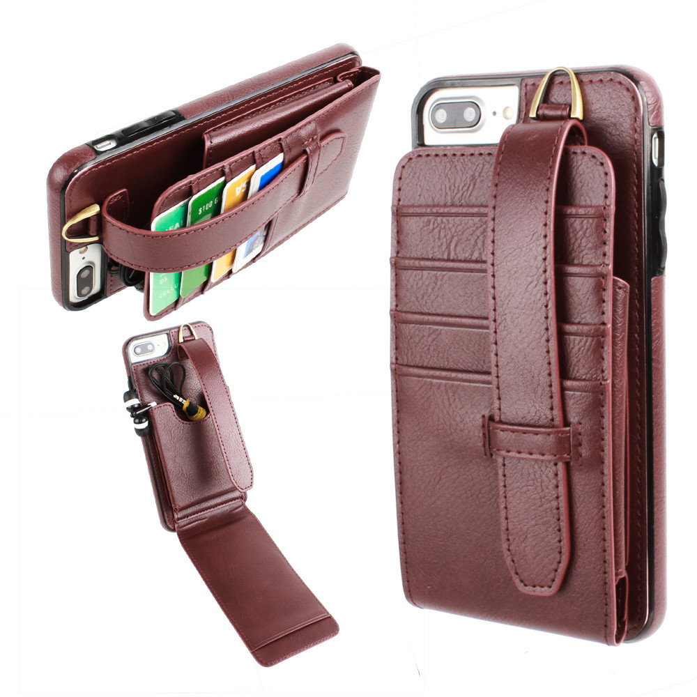 Apple iPhone 7 Plus -  Faux Leather Wallet Case with Card Pockets and Strap, Maroon