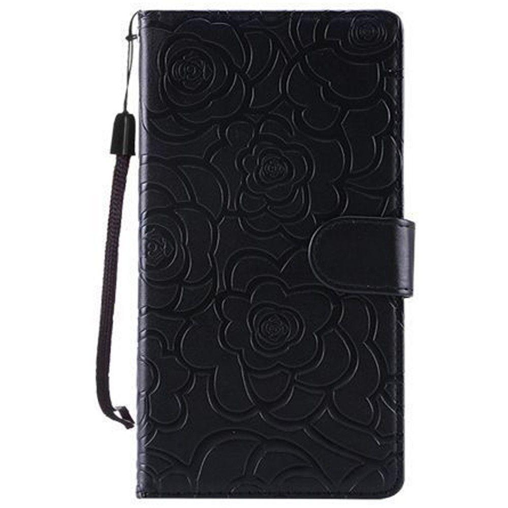 Apple iPhone 7 Plus -  Embossed Flower Design Folding Wallet Case with Wristlet strap, Black