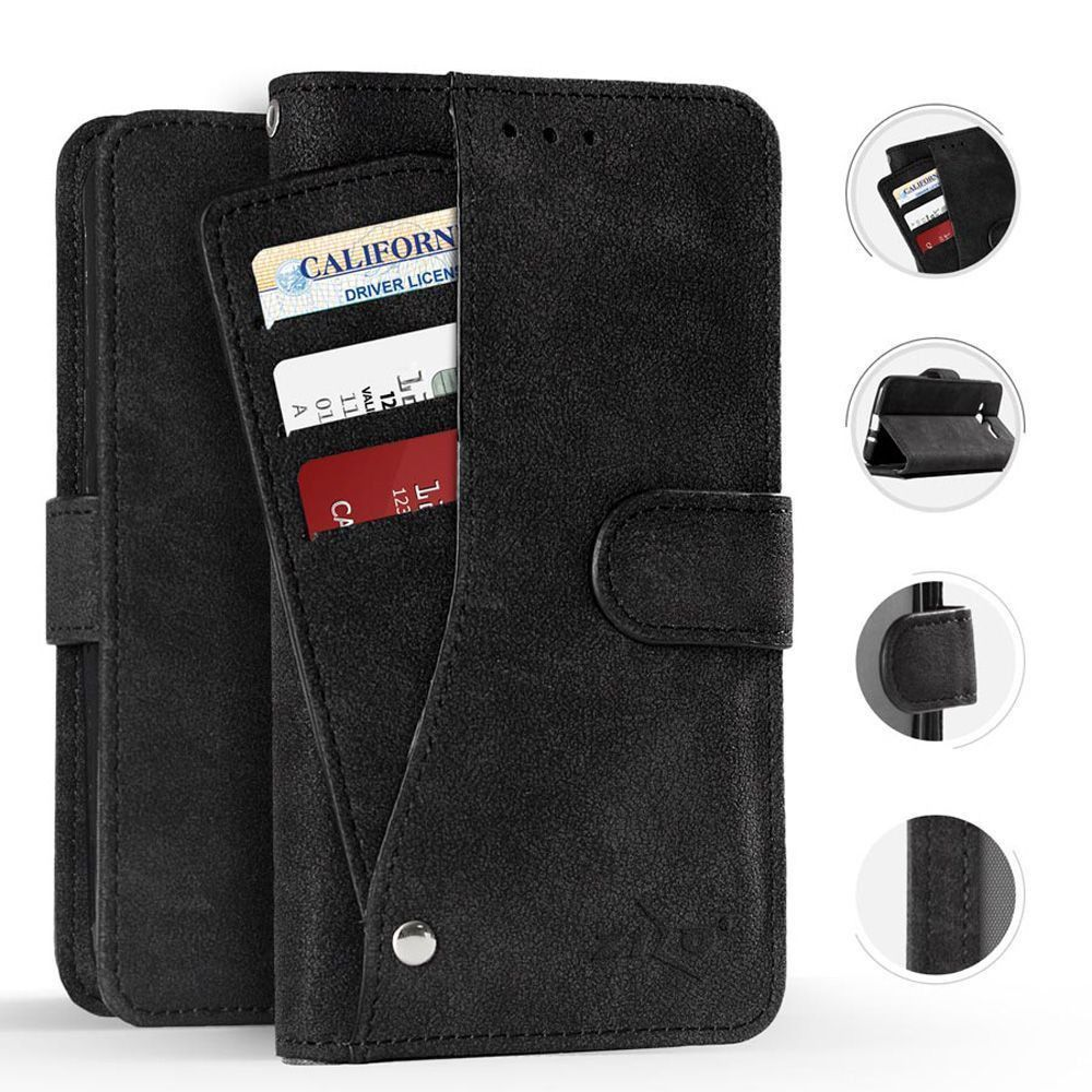 Apple iPhone X -  Leather Folding Wallet Case with Slide out Card Holder, Black