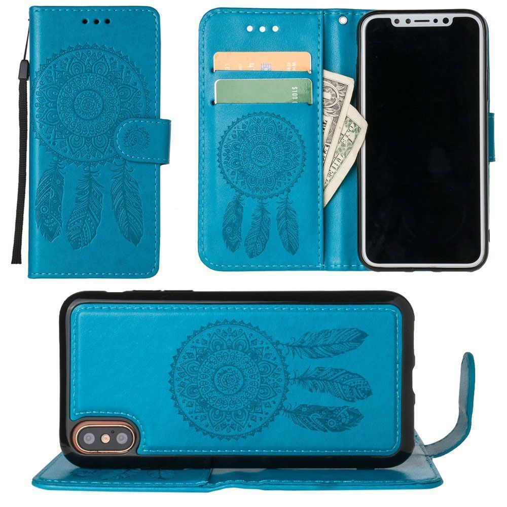 Apple iPhone X - Embossed Dream Catcher Design Wallet Case with Detachable Matching Case and Wristlet, Teal