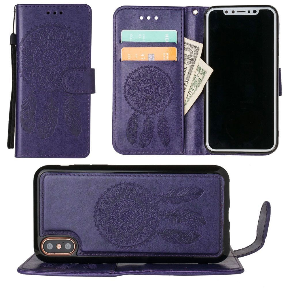 Apple iPhone X - Embossed Dream Catcher Design Wallet Case with Detachable Matching Case and Wristlet, Purple