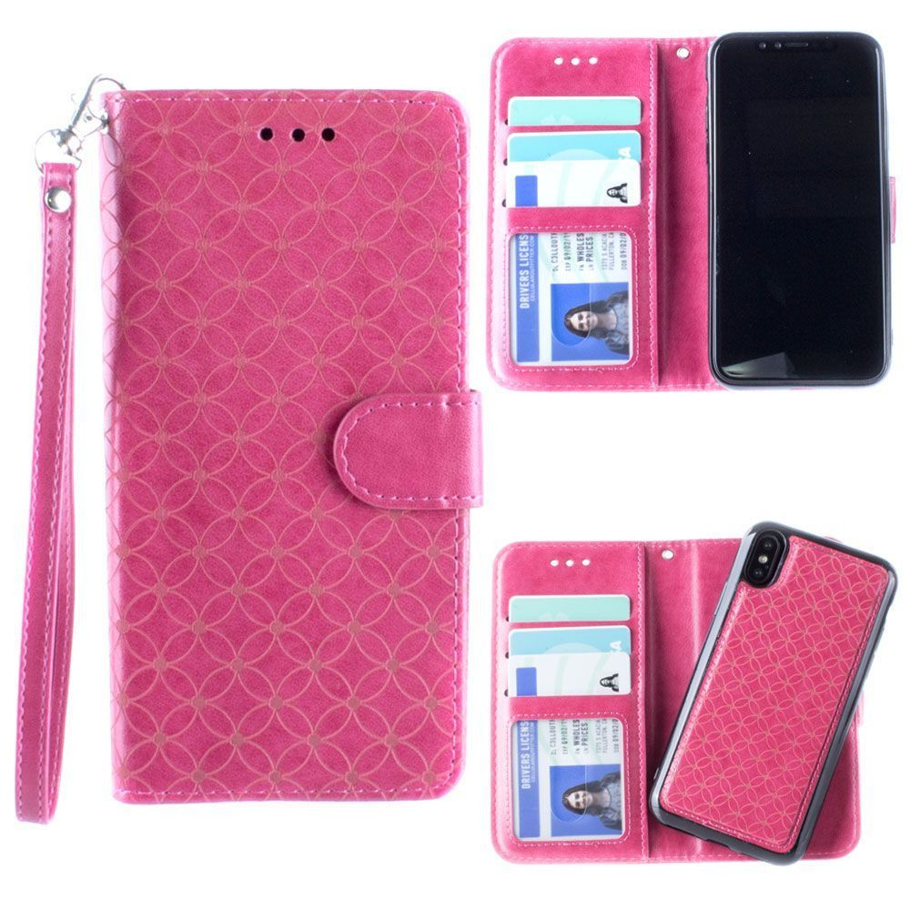 Apple iPhone X -  Diamond pattern laser-cut wallet with detachable matching slim case and wristlet, Hot Pink