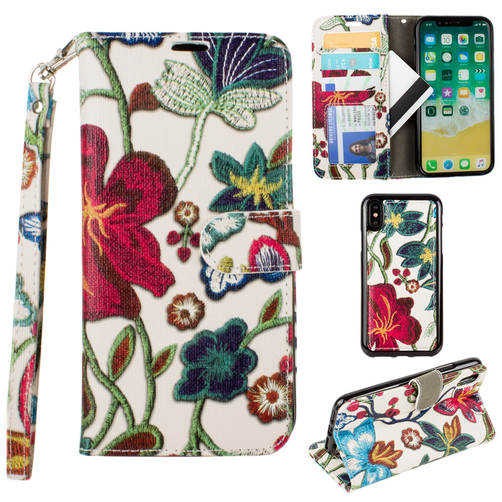 Apple iPhone X -  Faux Embroidery Printed Floral Wallet Case with detachable matching slim case and wristlet, Multi-Color
