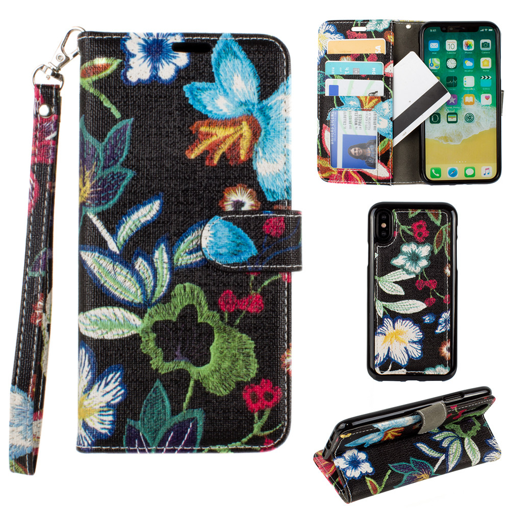 Apple iPhone X -  Faux Embroidery Printed Floral Wallet Case with detachable matching slim case and wristlet, Multi-Color/Black