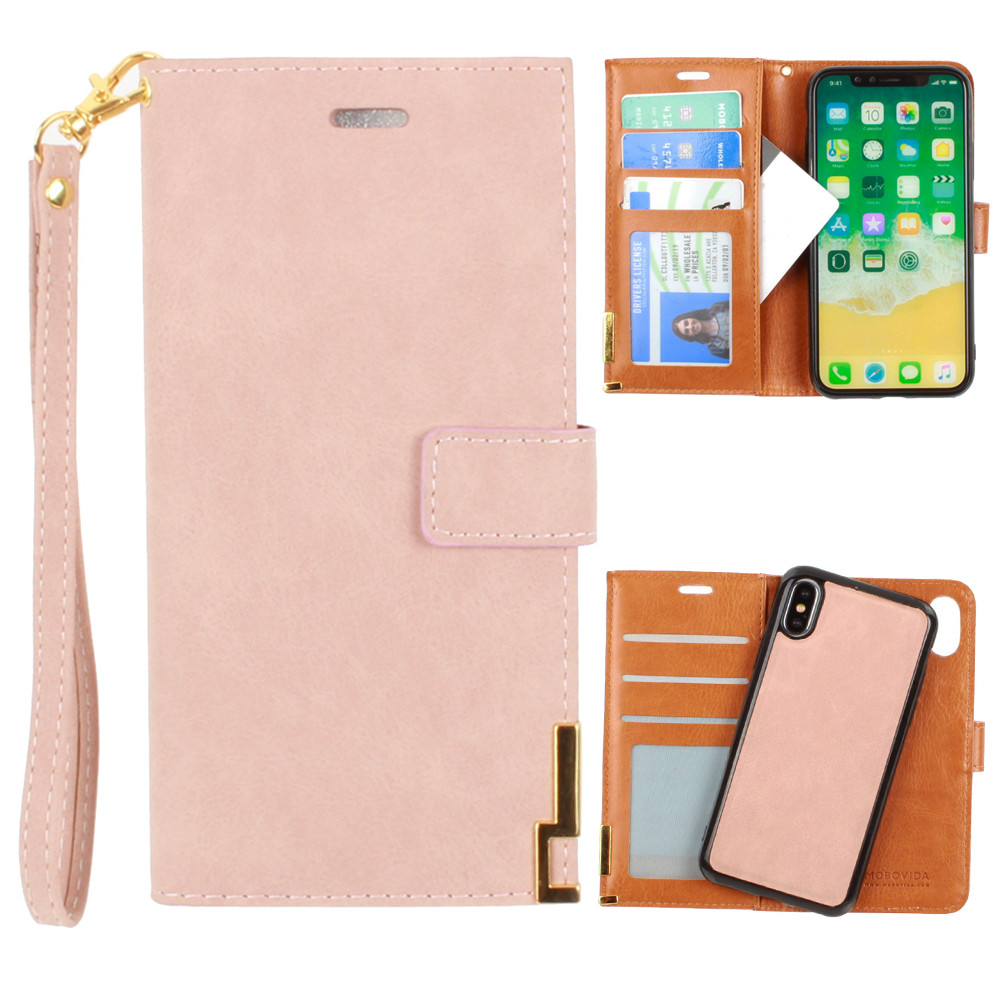 Apple iPhone X -  Ultrasuede metal trimmed wallet with removable slim case and  wristlet, Taupe