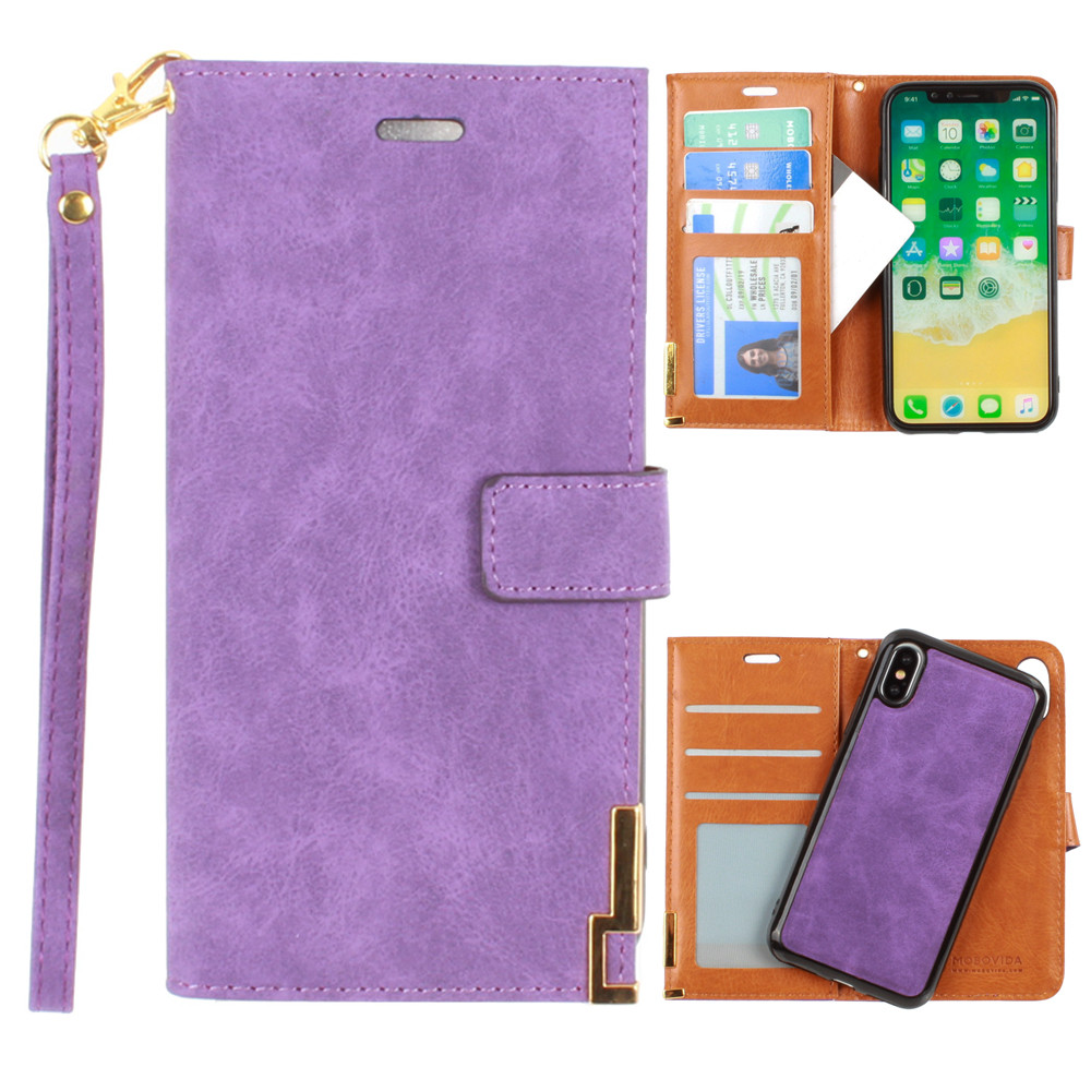 Apple iPhone X -  Ultrasuede metal trimmed wallet with removable slim case and  wristlet, Purple
