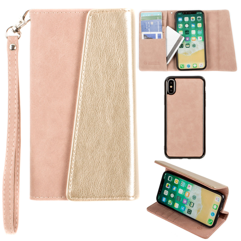 Apple iPhone X -  UltraSuede Metallic Color Block Flap Wallet with Matching detachable Case and strap, Dusty Pink/Gold
