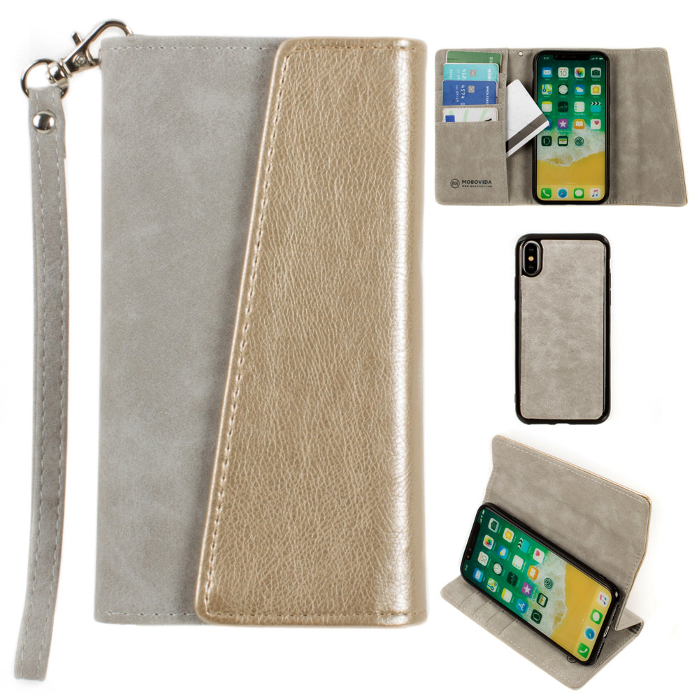 Apple iPhone X -  UltraSuede Metallic Color Block Flap Wallet with Matching detachable Case and strap, Gray/Gold