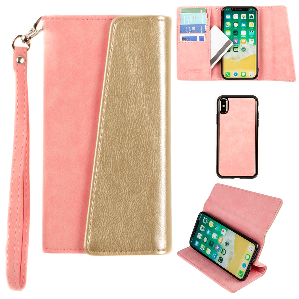 Apple iPhone X -  UltraSuede Metallic Color Block Flap Wallet with Matching detachable Case and strap, Pink/Gold