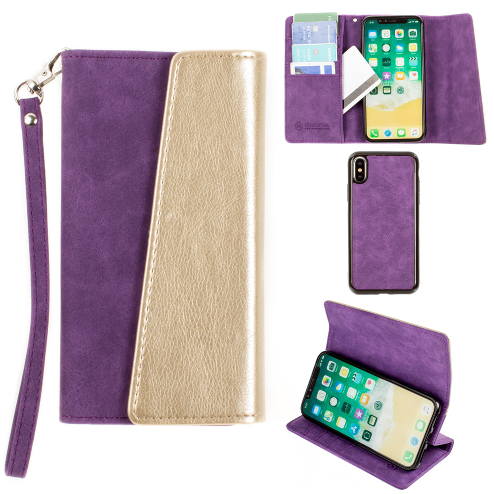 Apple iPhone X -  UltraSuede Metallic Color Block Flap Wallet with Matching detachable Case and strap, Purple/Gold