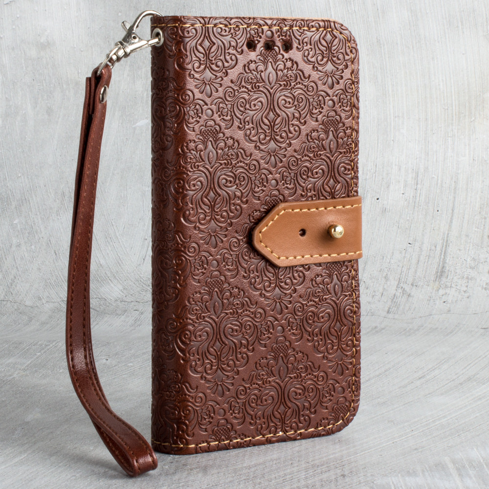 Apple iPhone X -  Vintage Floral wallet with detachable matching slim case and wristlet, Maroon