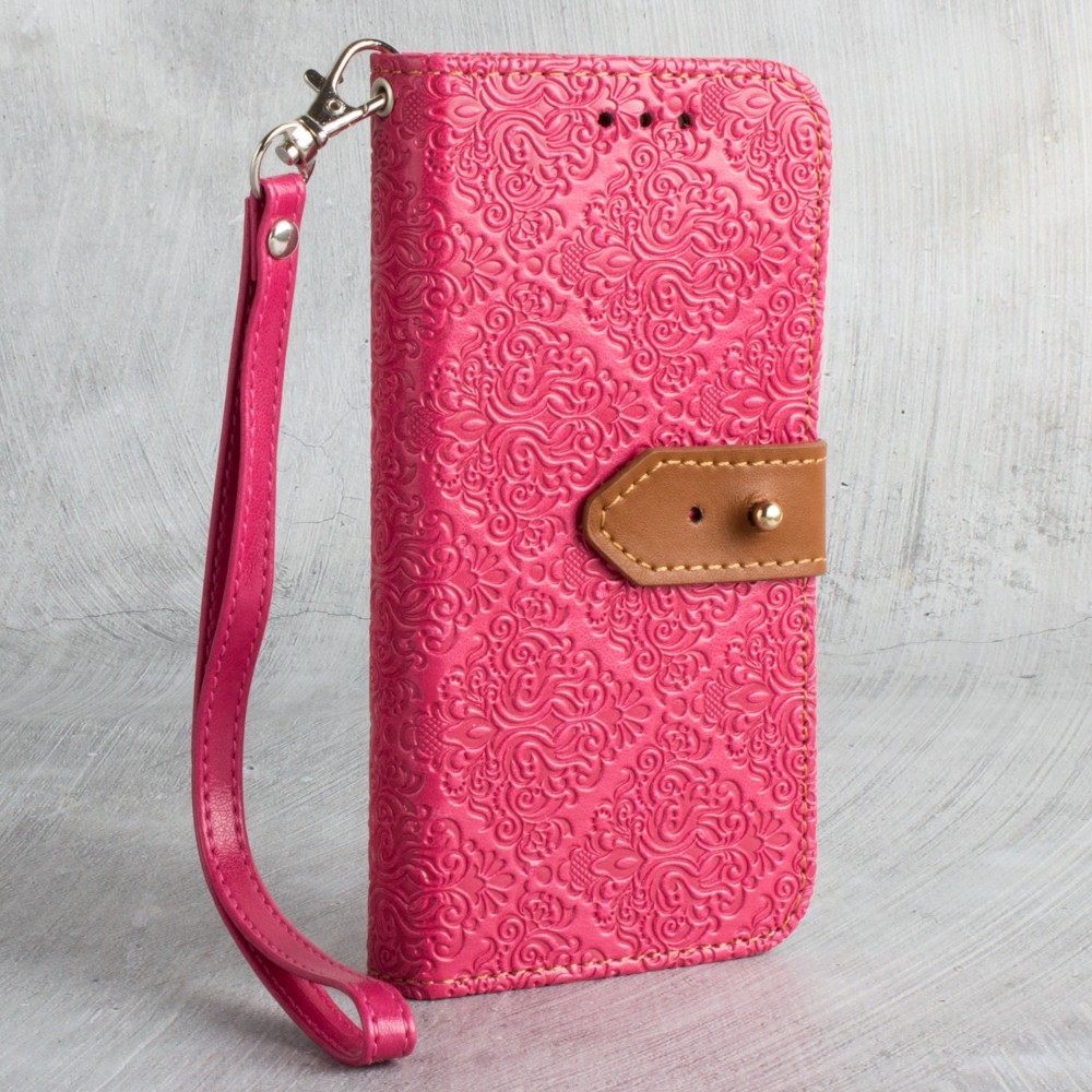 Apple iPhone X -  Vintage Floral wallet with detachable matching slim case and wristlet, Hot Pink